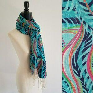 LILLY PULITZER aqua murfee scarf
